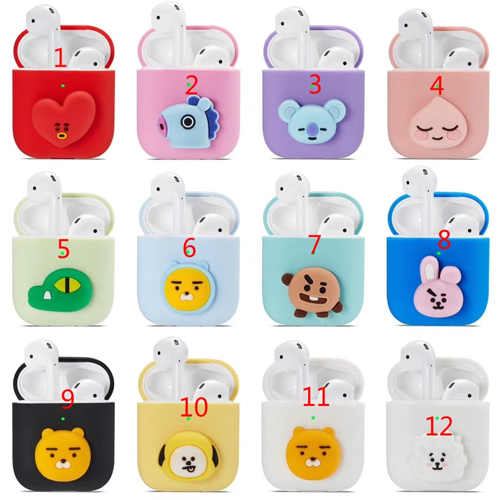 Silicone Bluetooth Wireless Earphone Case For AirPods BT21 Protective Cover Cartoon Doll Charging Box