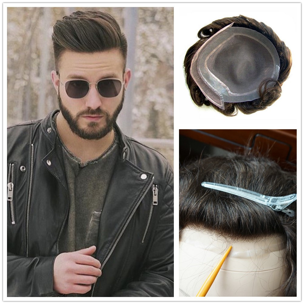 Hstonir Men Hair Toupee Mono Lace Top Swiss Lace Frontal Pu Coated Indian Remy Hair Hairpiece H046