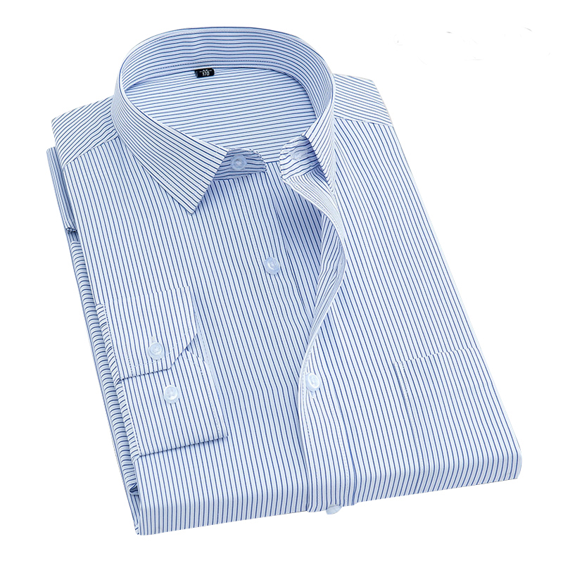 2020 New Spring Men Shirt Long Sleeved Striped Dress Shirts Brand Clothing Business Work Dress Shirt Camisa Masculina DA017