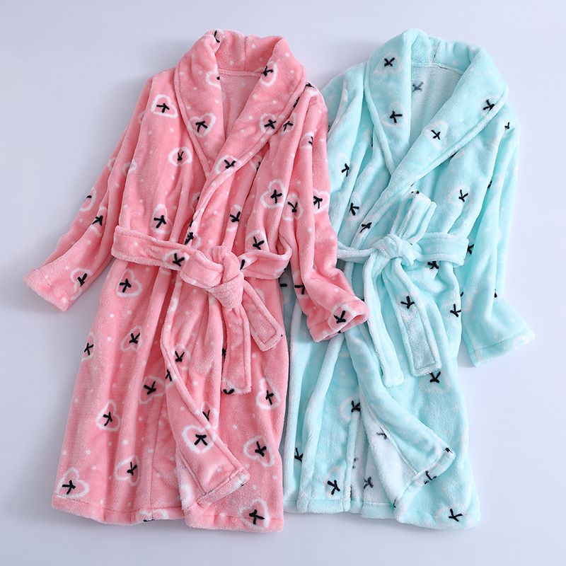 -CHILDREN'S Bathrobes Girls Korean-style Cartoon Warm Tracksuit Children Baby Pajamas Parent And Child