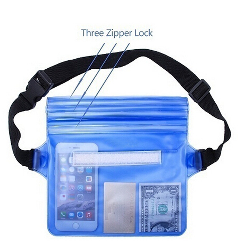 Three Layers Waterproof Dwaterproof Underwater Waist Bag Fanny Pack Dry Beach Pouch Phone Case Wallet