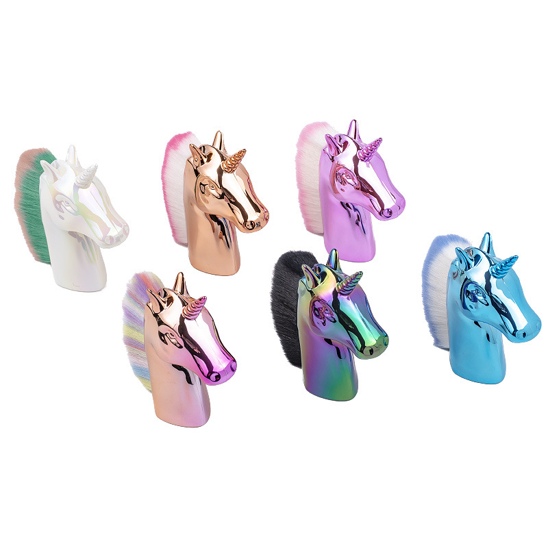 1Pc Rainbow Unicorn Design Glitter Nail Art Brush For Powder Remove And Dust Clearing Manicure Tool 2