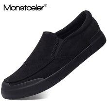 Monstceler chaussures vulcanisées pour hommes, nouvelle mode, mocassins en flanelle sans lacet, plates, printemps chaussures de Designer décontractées, M7983