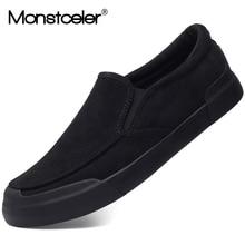 Бренд Monstceler, новинка, модная мужская Вулканизированная обувь, фланелевые слипоны, лоферы, дизайнерская повседневная обувь, Весенняя модель M7983