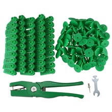 Animal Ear Tagging Pliers with Spare Pins and 001-100 Number Plastic Tags for Installing Pigs Cattle Sheep Ear(China)