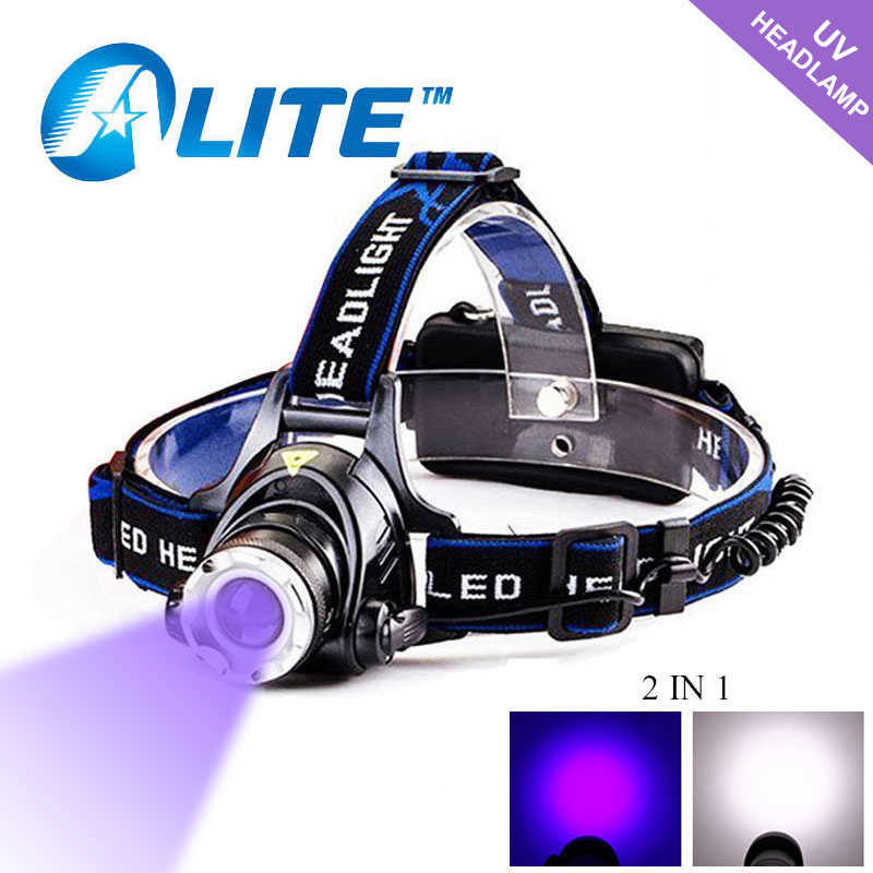 TMWT Waterproof LED Headlight UV  amp  White Lights 18650 USB Rechargeable CREE T6 Scorpion Hunting Headlamp For Camping  amp  Climbing