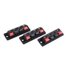 3Pcs 4 pin red and black Spring Pressure Audio Connector Board Terminal(China)