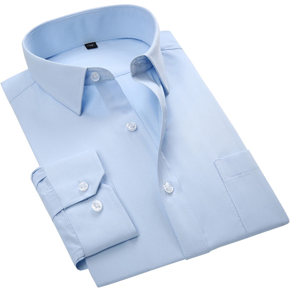 Men's Formal Shirt Long Sleeve Business No Fade Twill Light Blue Fashion Male Shirts Slim Fit Solid