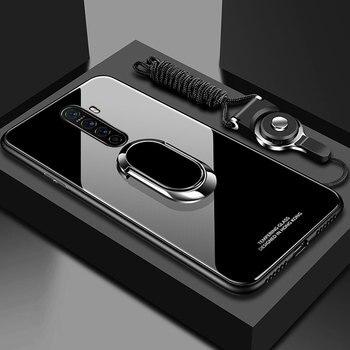 Перейти на Алиэкспресс и купить Для OPPO Realme X2 Pro 6 Pro XT k5 чехол из закаленного стекла Магнитный кольцевой Стенд чехол для телефона чехол для OPPO Reno 3 2Z 2F защитная задняя крышка