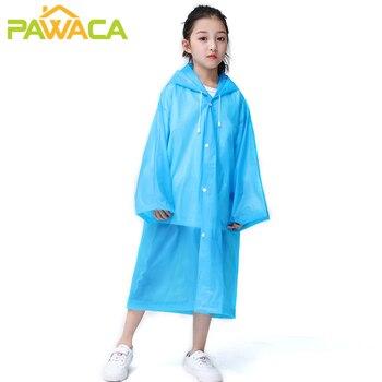 Reusable Kids Children's Raincoat Poncho Waterproof Portable Solid Color Student Rain Coat Rainwear Clothes Cover Hooded Poncho