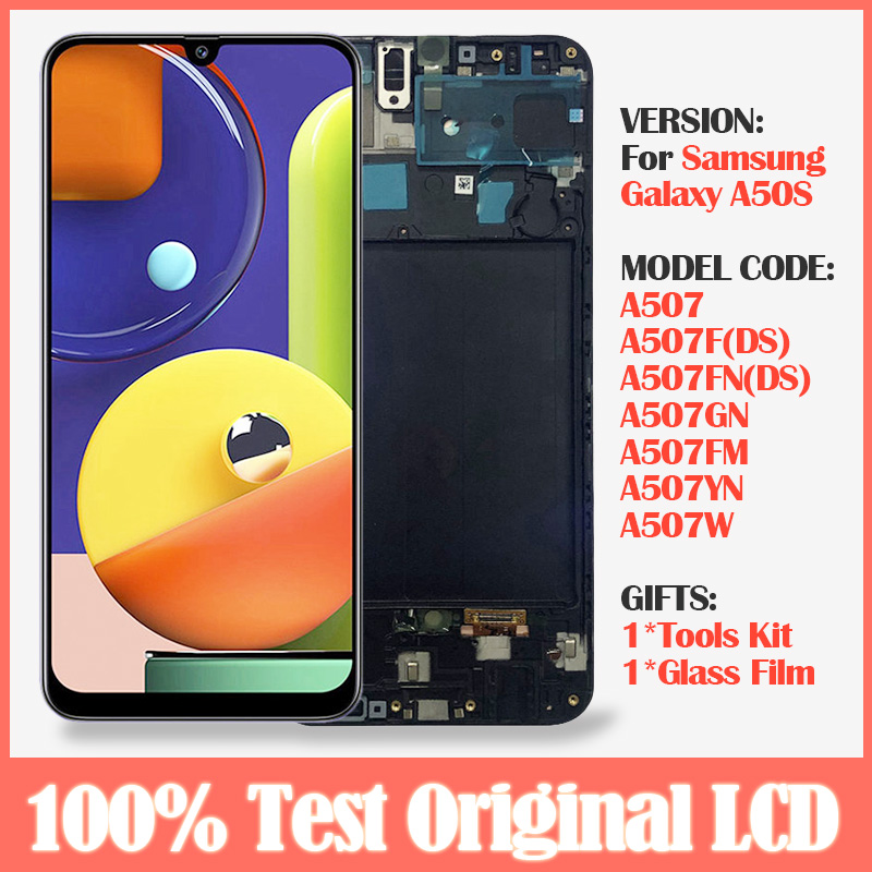 Original 6.4 lcd with frame For Samsung Galaxy A50S A507 A507F LCD Display +Touch Screen Digitizer Assembly Replacement