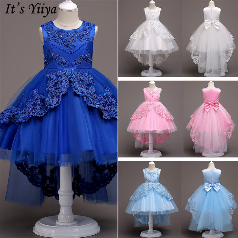 It's YiiYa   Flower     Girl     Dresses   6 Colors Court Train Bow Floor Length   Girls   Pageant   Dresses   Kids Party Lace   Dresses   For   Girl   584
