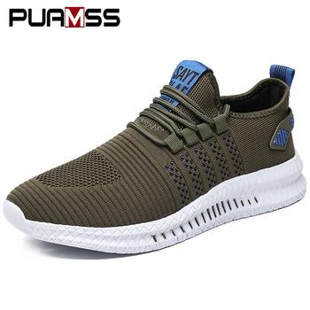 Modne trampki męskie buty wulkanizowane męskie lekkie oddychające siatkowe obuwie obuwie męskie Tenis Masculino tanie i dobre opinie PUAMSS Mesh (air mesh) CN (pochodzenie) Płytkie Stałe Dla dorosłych NONE Wiosna jesień Men shoes Lace-up Mieszkanie (≤1cm)