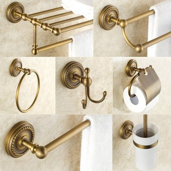 Bathroom Hardware Set Antique Brass Robe Hook Towel Rail Rack Bar Shelf Paper Holder Toothbrush Holder Bathroom Accessories solid brass bathroom towel rack single bar carved holder antique brass bathroom towel holder wall mounted