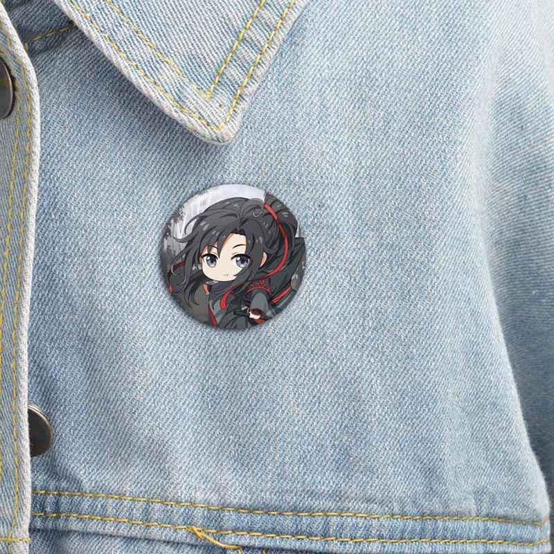 1pcs Anime Mo Dao Zu Shi Wei Wuxian Lan Wangji Figuur Model Broche Pins Broches Ronde Blik Cartoon Badge voor Zak Revers
