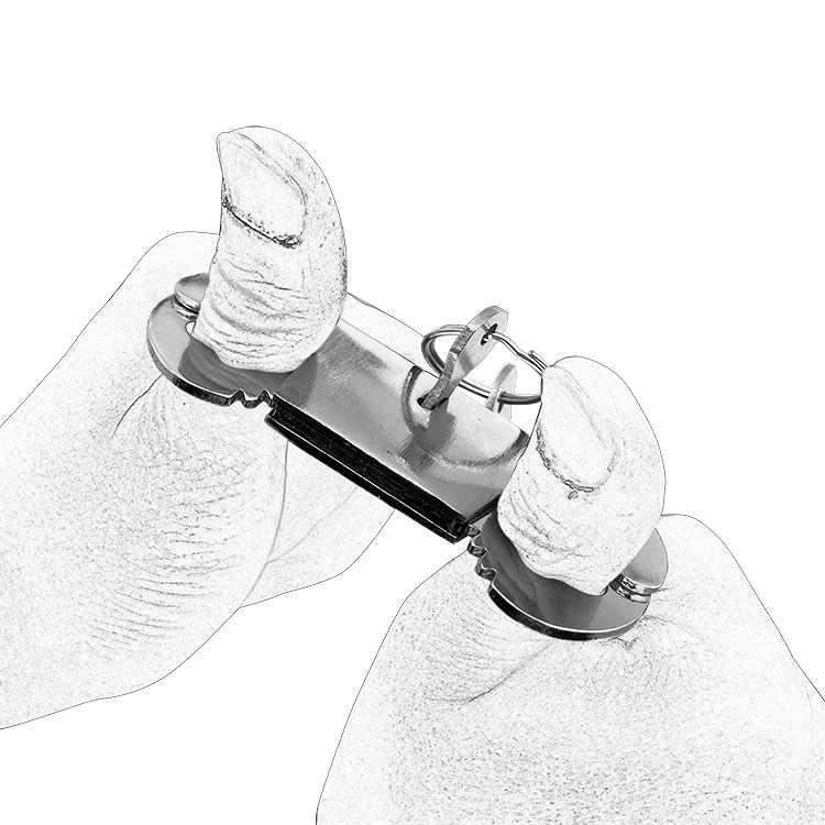 척 열쇠 본디지 잠금 금속 수갑 슬레이브 구속 BDSM 도구 섹스 토이 코스프레 게임과 스테인레스 스틸 엄지 수갑을 재생