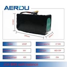 AERDU 36V 10S5P 17.5AH 18650 li ion pil paketi için 750Watt elektrikli motorlu scooter kaykay bisiklet ebike araba 25A BMS