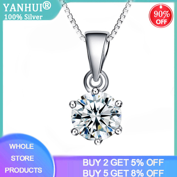 YANHUI With Certificate Real 925 Solid Silver Pendant Necklace Round 8mm 2.0ct Zirconia Diamond Fine Jewelry For Women Gift ND06