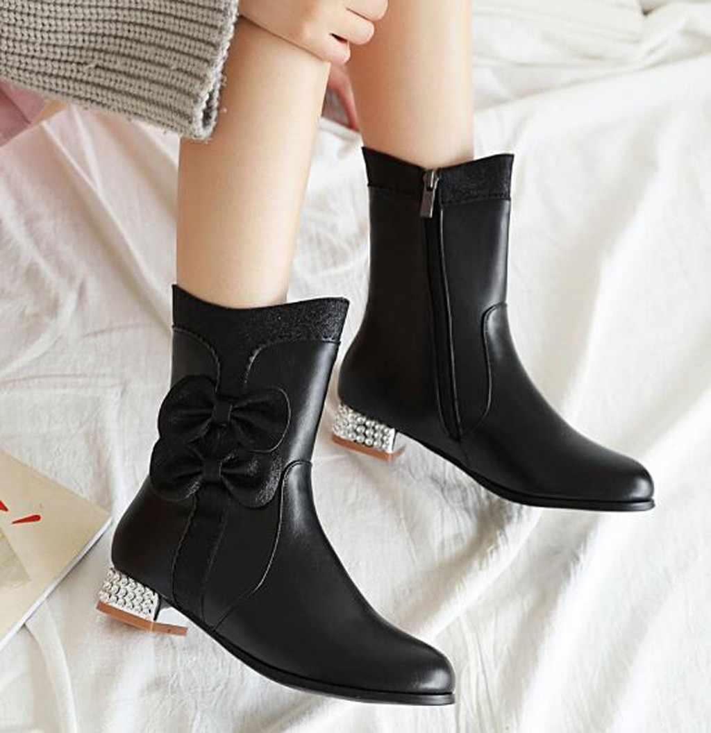 Nữ 2019 Da Giày Boot Cổ Ngắn Mùa Thu Đông Giữa Bắp Chân Chắc Chắn Giày Đế Người Phụ Nữ Boot Đầu Tròn Mỏng Mịn đèn Flash Giày