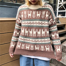 Christmas Womens Designer Sweaters Long Sleeve Crew Neck Womens Deer Print Sweaters Casual Ladies Pullover Clothing crew neck bare father christmas print sweatshirt
