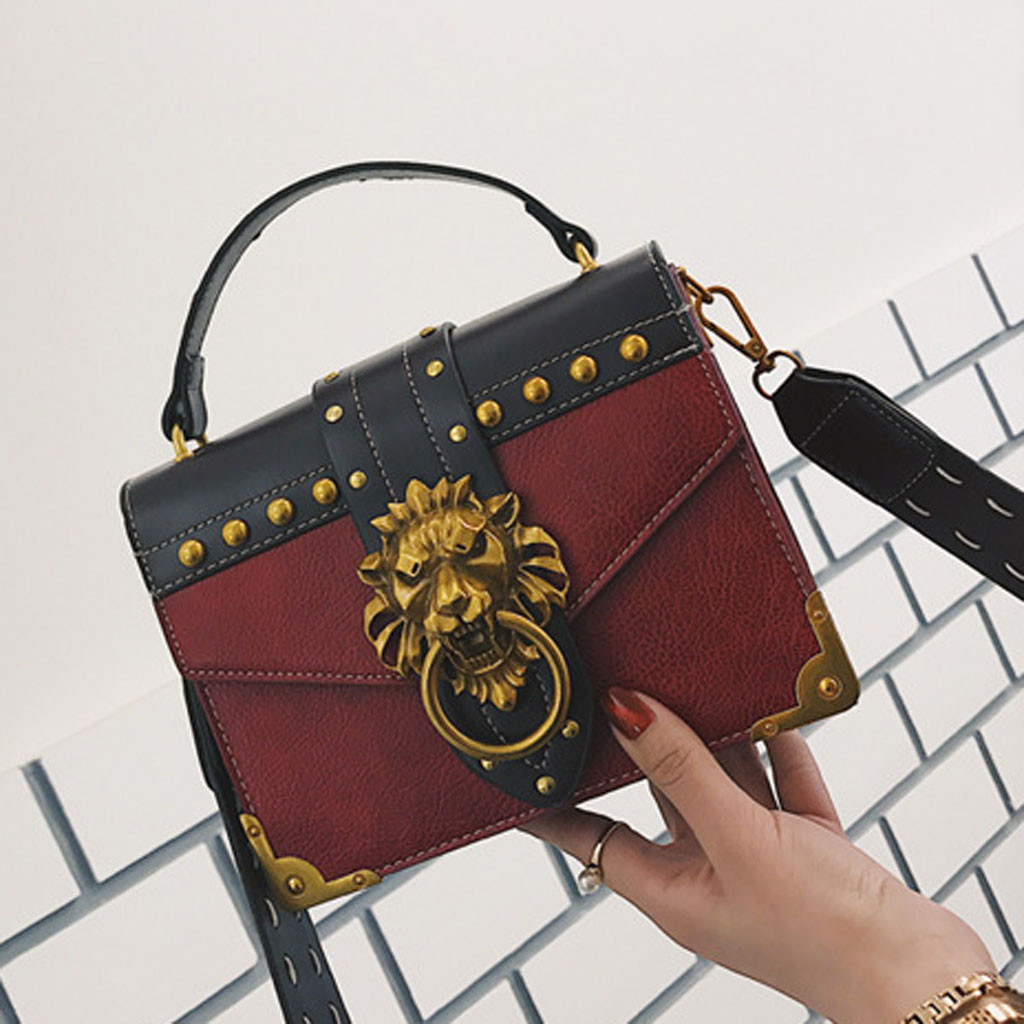 H6012e05e4ac8413388a4d43e5c2014f8B - Handbags Women Bags  Golden Lion Tote Bag With Zipper Fashion Metal Head Shoulder Bag Mini Square Crossbody Bag G3
