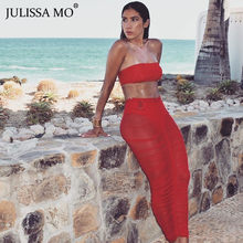 JULISSA MO Rot Lange Rock Womens Sexy Mesh Sehen Durch Bleistift Röcke Sommer Hohe Taille Bodycon Plissee Röcke faldas mujer moda(China)