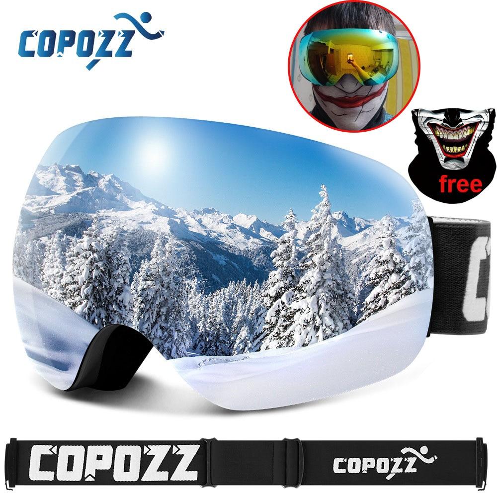 COPOZZ Spherical Frameless Ski Goggles Skiing Glasses Big Face Snowmobile UV400 Anti-Fog Snow Sunglasses Snowboard Google