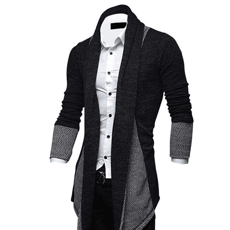 Men Sweater Slim Long Sleeve Knitted Cardigan Trench Coat Jackets Business Top BMF88