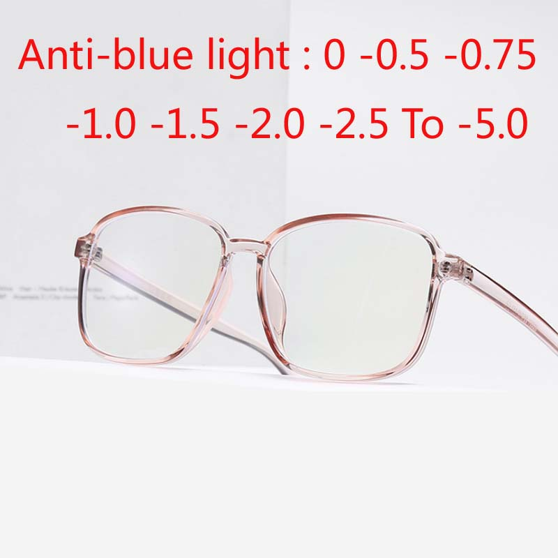 Big Square Frame Finished Myopia Glasses Anti-blue Light Eyewear Diopter 0 -0.5 -0.75 -1.0 -2.0 -2.5 -3.0 To -6.0