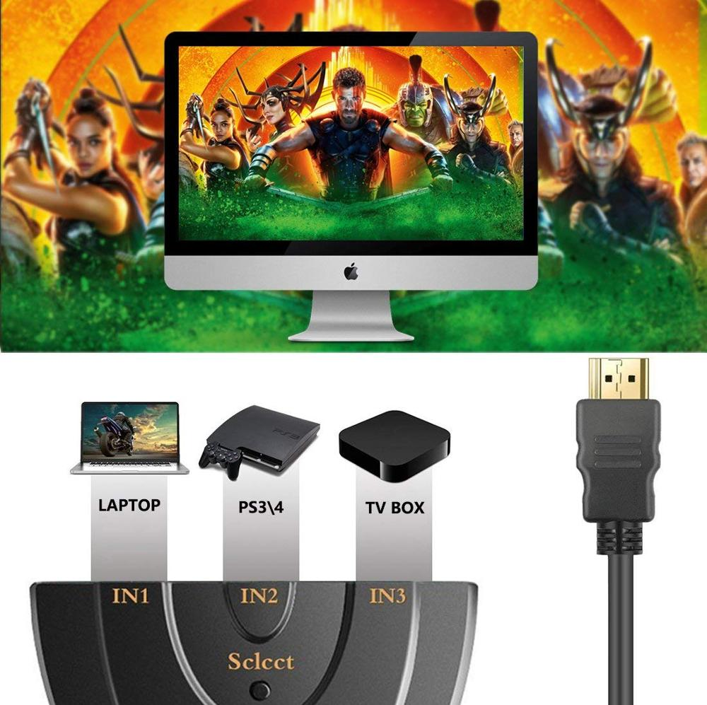 Image 4 - HDMI Switch 3 Port 4K HDMI Switch 3 in 1 Out with High Speed Switch Splitter Pigtail Cable Supports Full HD 4K 1080P 3D Player