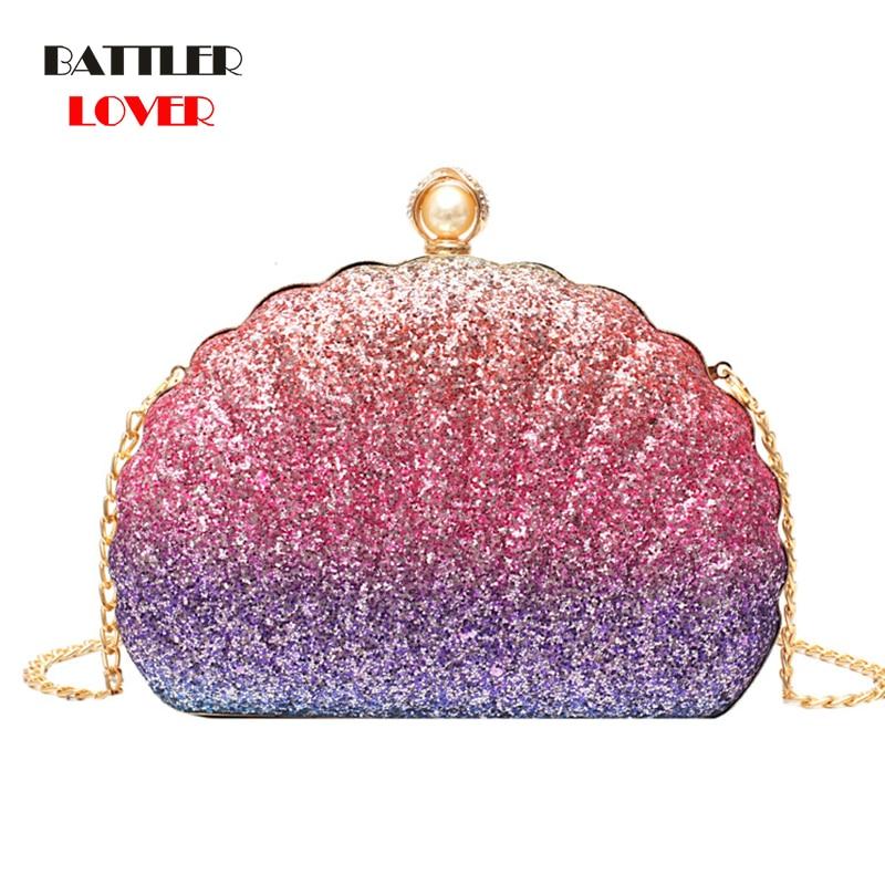 New Fashion Shell Bag Chain Shoulder Solid Colorful Handbags Women Small PVC Crossbody Bags Ladies Evening Handbag Shoulder Bag