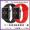 Ремешок силиконовый для Apple Watch 44 мм 40 мм 38 мм 42 мм, спортивный резиновый браслет для наручных часов, аксессуары для Iwatch Series 3 4 5 6 se