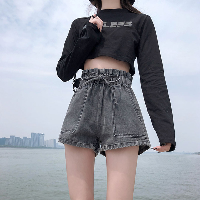 LYZCR Ripped Jeans Shorts Women Summer Loose Denim Wide Leg Shorts For Women with Belt Harem Ladies Jeans Short Causal New 2021 6