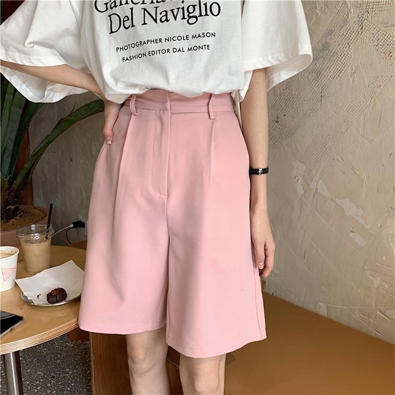 Vintage Shorts Women Summer 2020 High Waist Pockets Knee Length Shorts Female Loose OL Office Solid Color Capris