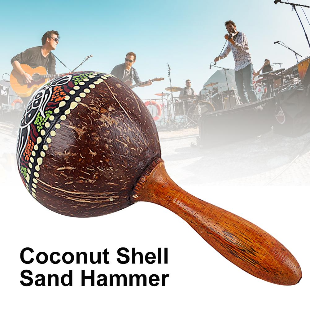 Coconut Shell Sand Hammer Shaker Hand Rattle Percussion Musical Instrument Toy