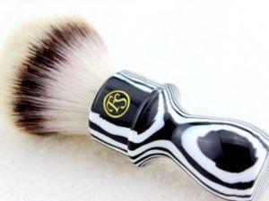 "Image 3 - ""FS"" 26mm G4 Synthetic Hair Shaving Brush Zebra Handle+FREE STAND"