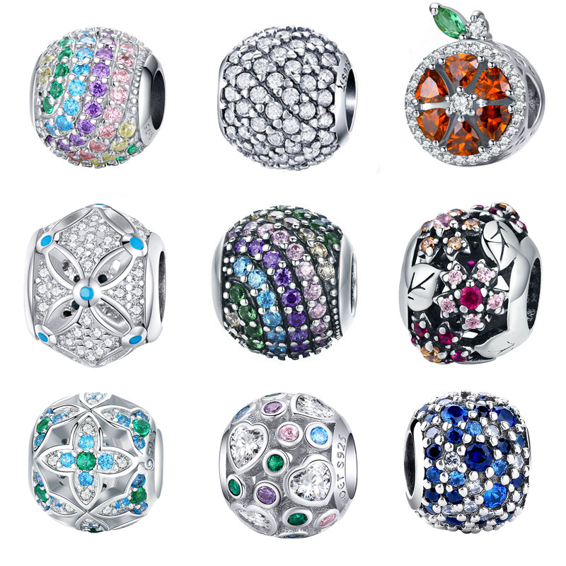 BISAER AAA Zircon Beads Fit Bisaer Bracelet Sterling Silver 925 Ocean Mosaic Pave Mixed Green CZ Green Crystal Beads DIY Jewelry