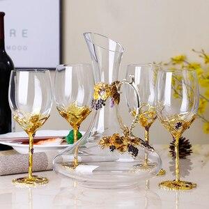 Esmalte-colorido sem chumbo cristal copo de vinho decanter conjunto criativo taça de vinho high-end presente de casamento