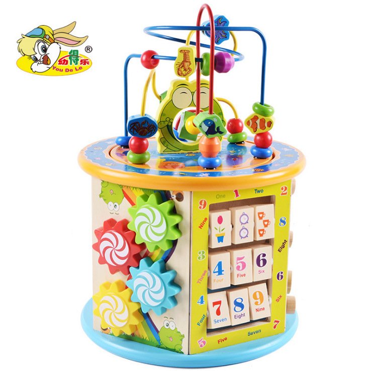 Children'S Educational Large Bead-stringing Toy Treasure Chest Wooden Large Size Multi-functional Infants Early Childhood Intell