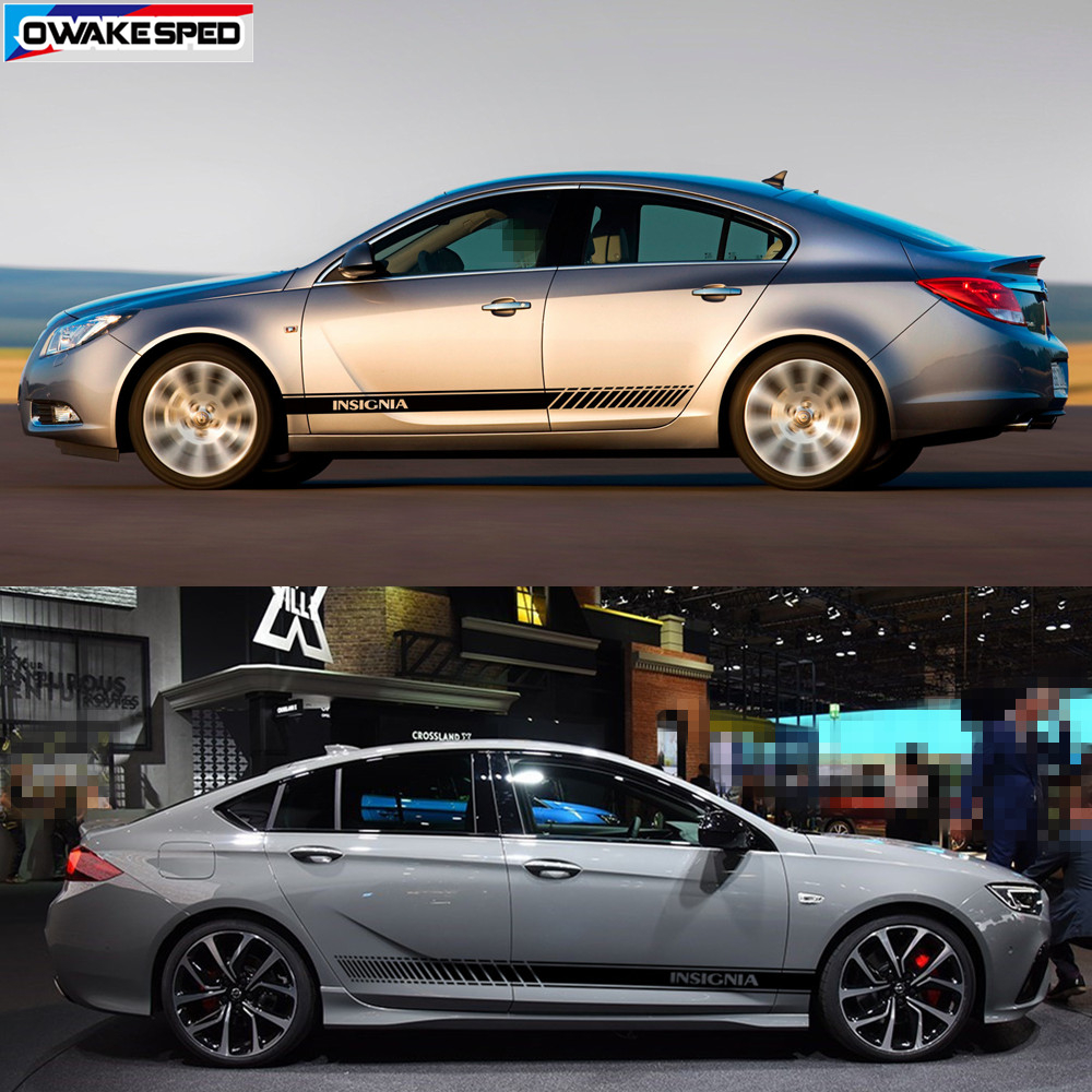 lowest price For Opel Insignia OPC Sport Stripes Car Styling Door Side Skirt Sticker Auto Body Decor Vinyl Decals Exterior Accessories