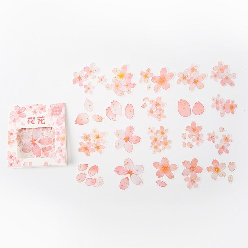 40 pcs/ Bag Pink Sakura Flowers Diary Decorative Stickers DIY Sealing Paste Stick Label