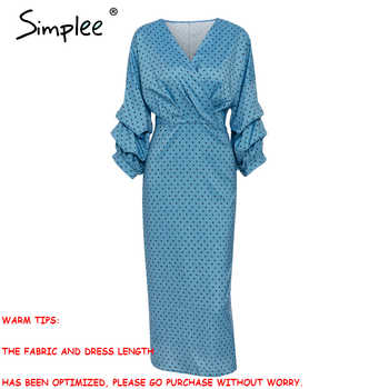 Simplee Elegant v-neck women dress Polka dot lantern sleeve female plus size evening party dress Autumn slim lady vintage dress