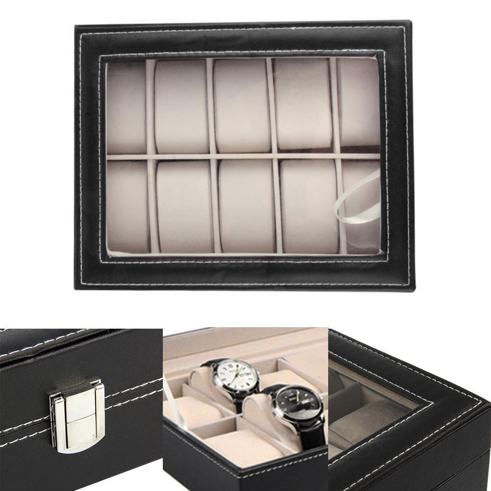 PU Leather 10 Slots Wrist Watch Display Box Storage Holder Organizer Case Hot Selling