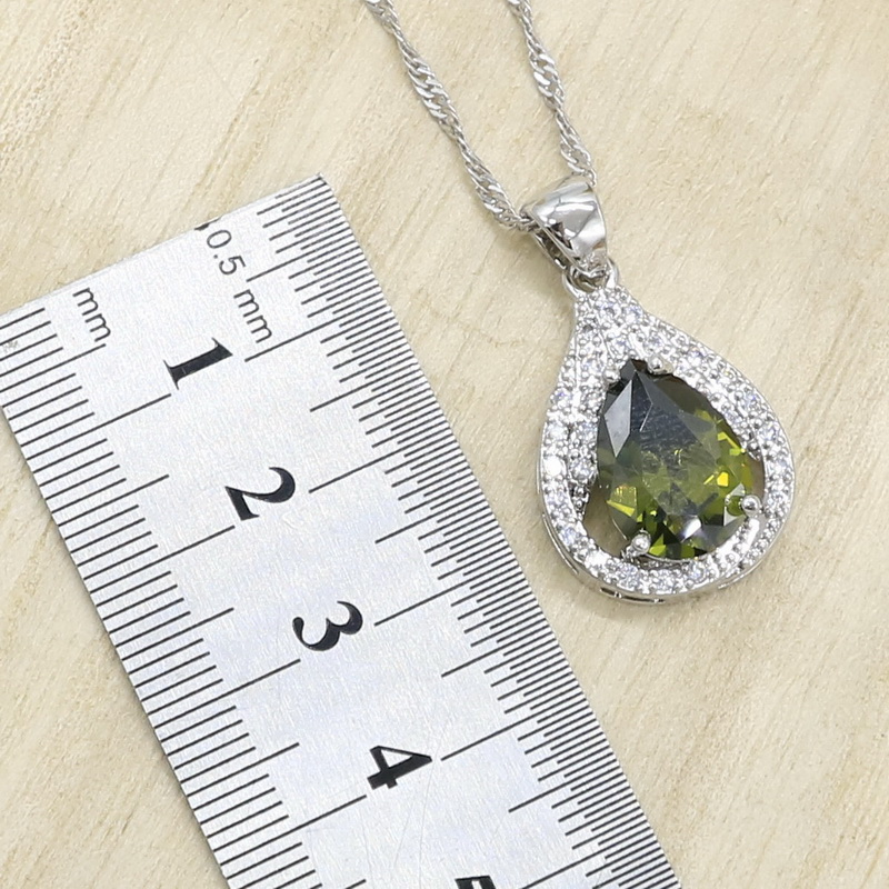 2019 New Olive Green Zircon Silver Color Jewelry Set for Women with Bracelet Earrings Necklace Pendant Ring Birthday Gift