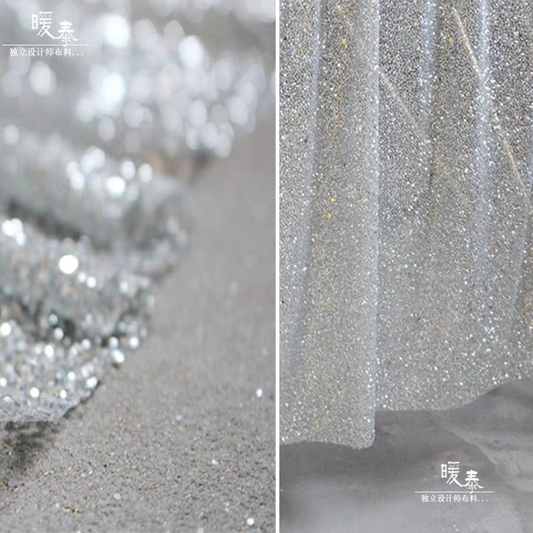 Silver Shiny Small Sequins Glitter Fabric For Clothes Stage Background Party Wedding Home Décor Designer Fabric DIY