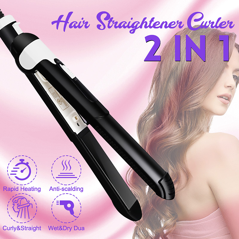 2 In 1 Curling Amp Straightening Iron Ceramic Hair Styling Tool Negative Ion Hair Care Fast Warm-up Wet Dry Dual Use Anti-scalde