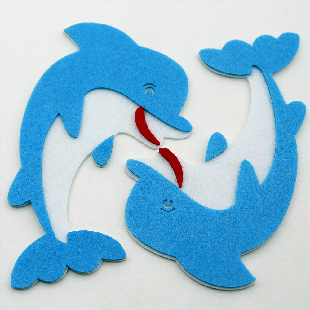 2pcs Cute Dolphin Nonwoven Cutting Felts Cloth Fabric Felt DIY Crafts For Home Kids Room Wall Decorations Kindergarten Stickers