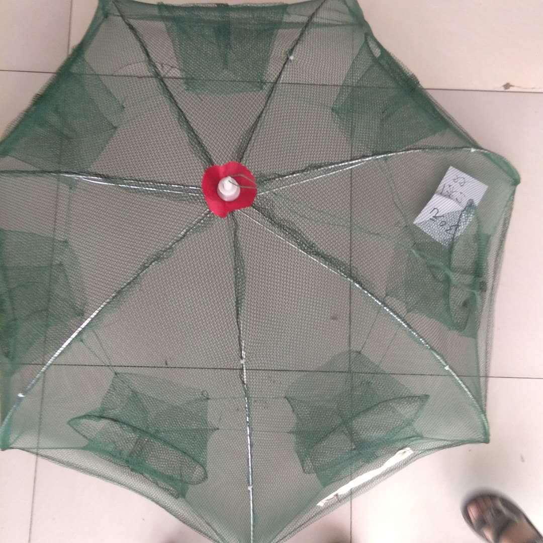Paraguas de jaula de pesca plegable jaula colgante red de transporte de camarones cangrejo olla Sena río Camarón jaula equipo de pesca