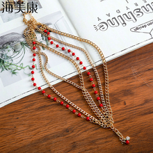 Haimeikang Plastic Color Beads Head Chain Crystal Pendant Hairwear Multilevel Metal Chain Headpiece Travel Bohemia Hair Accessor
