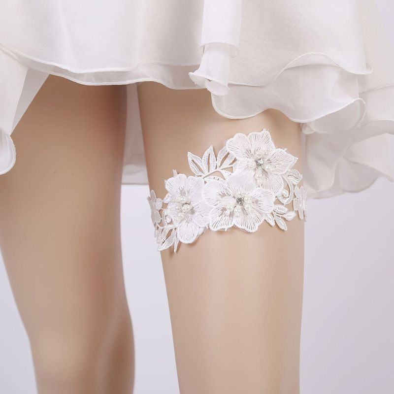 Wedding Bridal Sexy Leg Garter Embroidery Floral Lace Rhinestone Bead Thigh Ring Thigh Circumference: Approx. 60cm